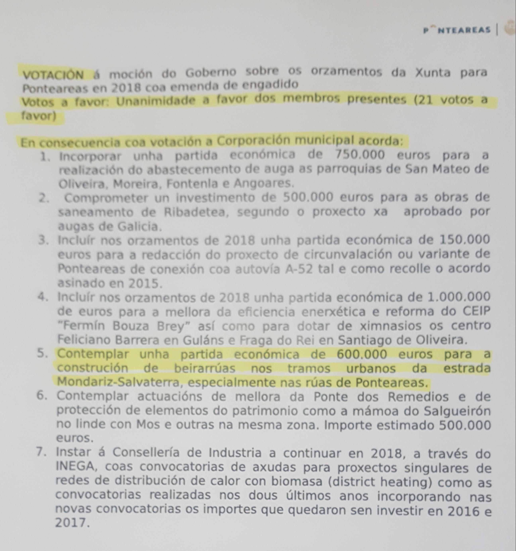 O PP Acusa ó Alcalde De Mentir En Relación á Seguridade Viaria Da PO-403 (Ctra Salvaterra-Mondariz, Tramo Ponteareas)